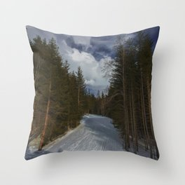 Winter Trail Forest (Color) Throw Pillow
