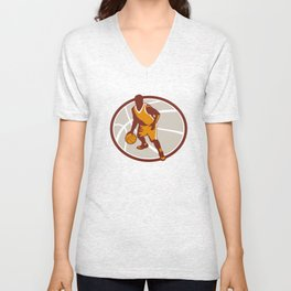 Basketball Player Dribbling Ball Oval Retro Unisex V-Neck
