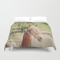 scripture Duvet Covers featuring Job 39: 19 Horse Scripture by KimberosePhotography