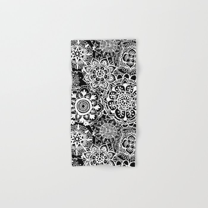 Black And White Mandala Pattern Hand Bath Towel By Julieerindesigns Society6