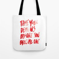 inner demons Tote Bags featuring Demons by WRDBNR