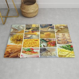 Collage Pasta food Rug