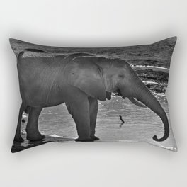 Elephant At A Waterhole Rectangular Pillow