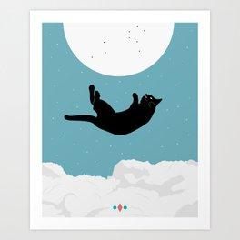 Falling/Flying Cat Art Print