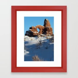 Snowy Turret Arch, Arches National Park Framed Art Print