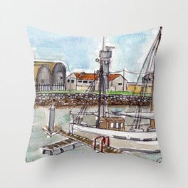 The Harbour, Figueira Da Foz, Portugal Throw Pillow