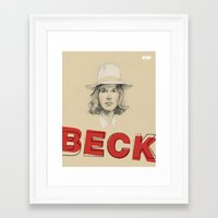 cassia beck Framed Art Prints featuring Beck Hansen by VIP by Marta R. Gustems