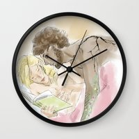 grantaire Wall Clocks featuring Platonic Partners Les Miserables by Pruoviare
