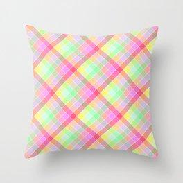 Pastel Rainbow Tablecloth Diagonal Check Throw Pillow