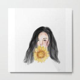 sunflower girl Metal Print