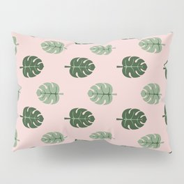 Tropical leaves Monstera deliciosa green and pink #monstera #tropical #leaves #floral #homedecor Pillow Sham