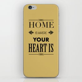 Home is Where - Typography brown iPhone Skin