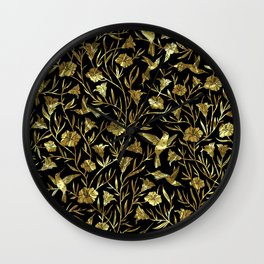 Black and gold foil humming birds & leafs pattern Wall Clock