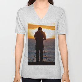 Photographer photographing the sunset over the Pacific Ocean Unisex V-Neck