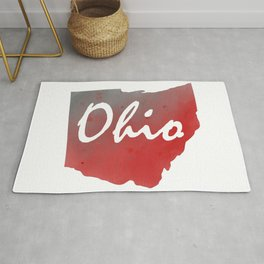 Ohio Map Watercolor Text Print Rug