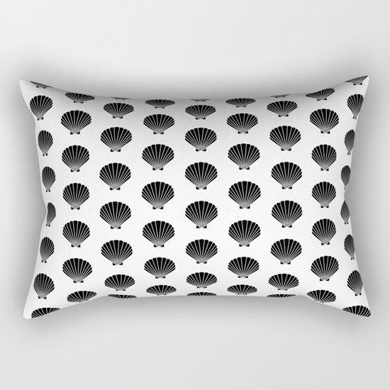 Seashells abstract black and white minimal pattern print painting india ink brushstroke modern art Rectangular Pillow