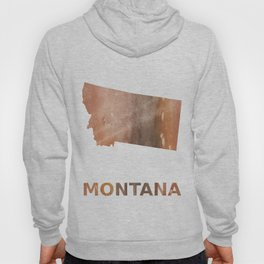 Montana map outline Rosy brown nebulous wash drawing pattern Hoody