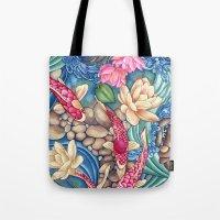 koi Tote Bags featuring Koi Pond by Vikki Salmela