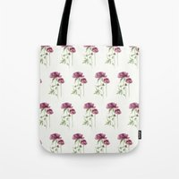 peony Tote Bags featuring peony by Dao Linh