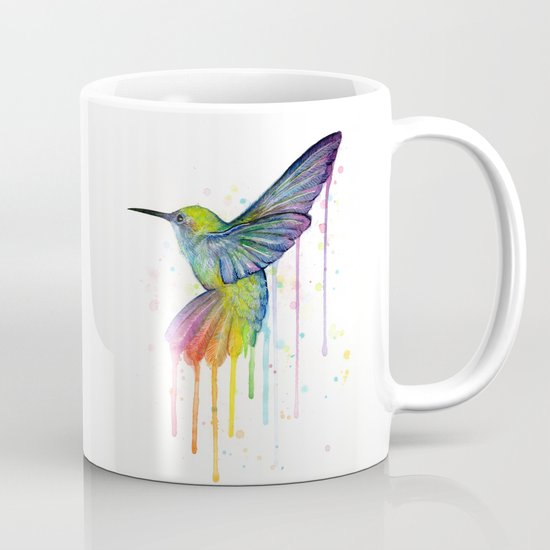 Hummingbird Rainbow Watercolor Mug