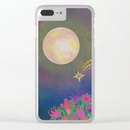 Full Moon - Scandinavian Folk Art Clear iPhone Case