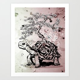 Turtle with a bonsai on the carapace Art Print