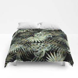 Jungle Dark Tropical Leaves #decor #society6 #pattern #style Comforters