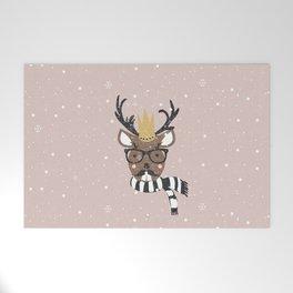 Holiday Deer Illustration Welcome Mat