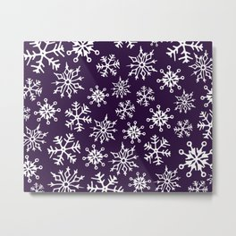 Snowflakes Pattern (Dark Purple) Metal Print