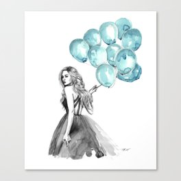 Balloons Turquoise  Canvas Print