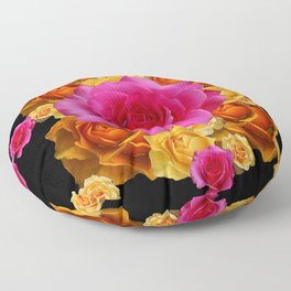 GOLD-YELLOW & PINK ROSES ON BLACK Floor Pillow