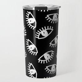 Eyes linocut black and white minimal eyes carving pattern Travel Mug