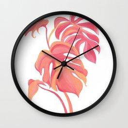 Pink Monstera Deliciosa Wall Clock