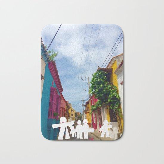 C for Cartagena Fun Cut Out Cartagena Street Print Bath Mat