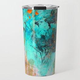 Hand painted teal orange black watercolor Travel Mug