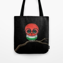 Baby Owl with Glasses and Hungarian Flag Tote Bag