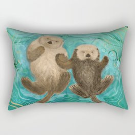 Otters Holding Paws, Floating in Emerald Waters Rectangular Pillow