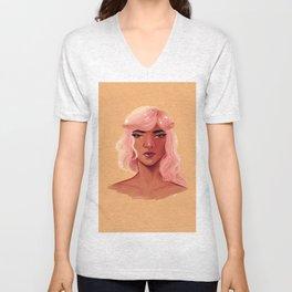 Pink Hair Unisex V-Neck
