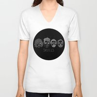 bastille V-neck T-shirts featuring Bastille Skulls by wellsi