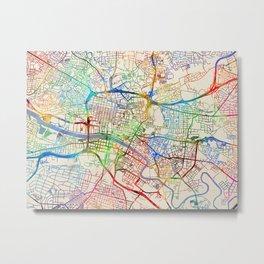 Glasgow Street Map Metal Print