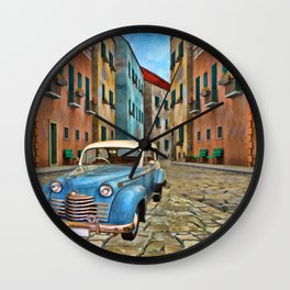 Urban Street Scene - Painting - by Liane Wright Wall Clock