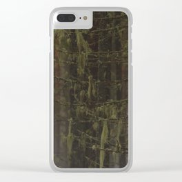 Old fir branches with moss and lichen. Clear iPhone Case