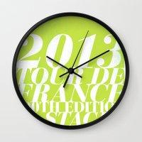 tour de france Wall Clocks featuring 2013 Tour de France: Sprint!  by Dushan Milic