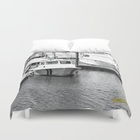 boats Duvet Covers featuring Boats BW by BeachStudio