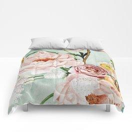 Blue Oval Peonies & Poppies Comforters