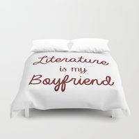 literature Duvet Covers featuring literature is my boyfriend red by Beautiful Bibliophile's Boutique