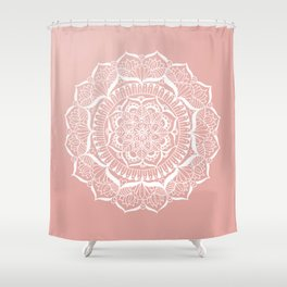 White Flower Mandala on Rose Gold Shower Curtain