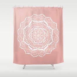 White Flower Mandala on Rose Gold Shower Curtain