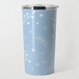 Winter Seamless pattern with pine branches, berries and twigs Travel Mug