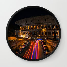 Italy Photography - Lights From Cars Passing By The Colosseum Wall Clock